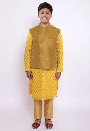 Woven Chanderi Silk Jacquard Kurta Set in Yellow and Golden