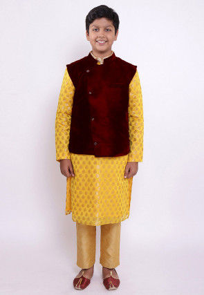 Woven Chanderi Silk Jacquard Kurta Set in Yellow and Red