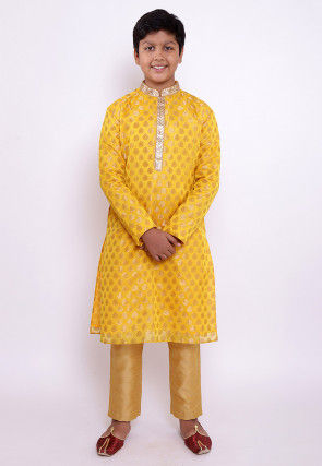 Woven Chanderi Silk Jacquard Kurta Set in Yellow