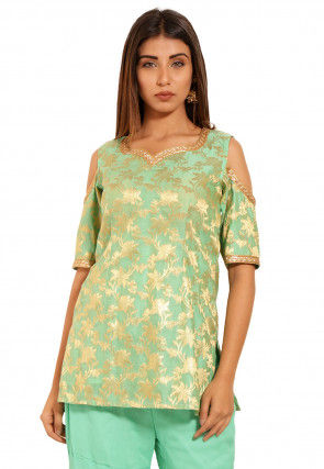 Woven Chanderi Silk Jacquard Kurti in Light Green