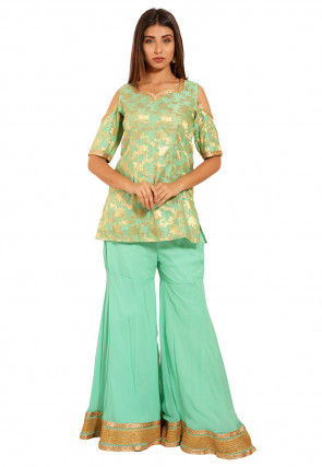 Woven Chanderi Silk Jacquard Kurti Set in Light Green