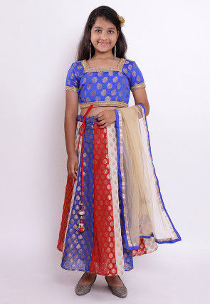 Woven Chanderi Silk Jacquard Lehenga in Multicolor and Royal Blue