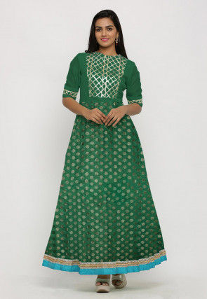 Woven Chanderi Silk Jacquard Long Kurta Set in Teal Green