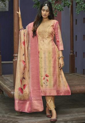 Woven Chanderi Silk Jacquard Pakistani Suit in Beige