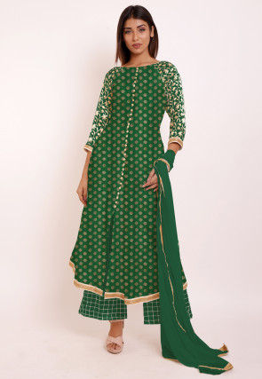 Woven Chanderi Silk Jacquard Pakistani Suit in Dark Green