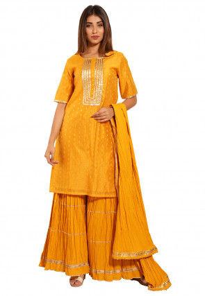 Woven Chanderi Silk Jacquard Pakistani Suit in Mustard