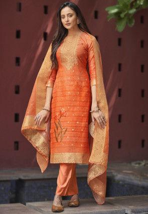 Woven Chanderi Silk Jacquard Pakistani Suit in Orange
