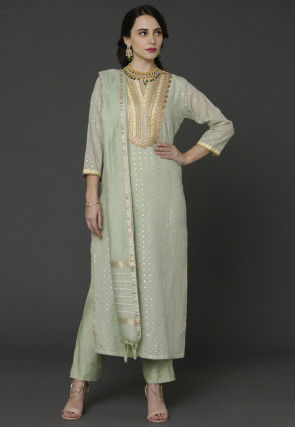 Woven Chanderi Silk Jacquard Pakistani Suit in Pastel Green
