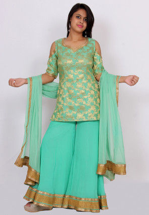 Woven Chanderi Silk Jacquard Pakistani Suit in Sea Green