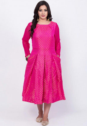 Woven Chanderi Silk Jacquard Pleated Dress in Fuchsia