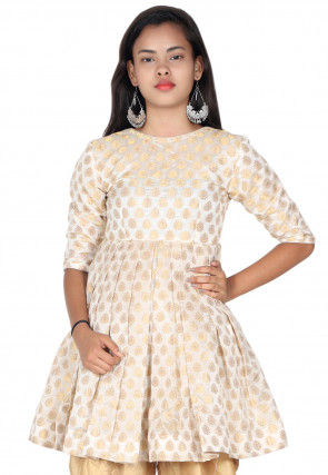 Woven Chanderi Silk Jacquard Pleated Kurti in Off White