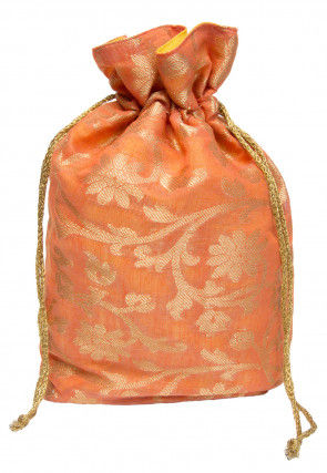 Woven Chanderi Silk Jacquard Potli Bag in Orange