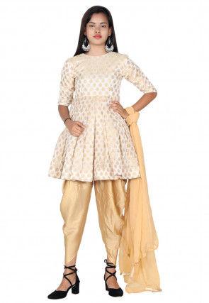 Woven Chanderi Silk Jacquard Punjabi Suit in Off White