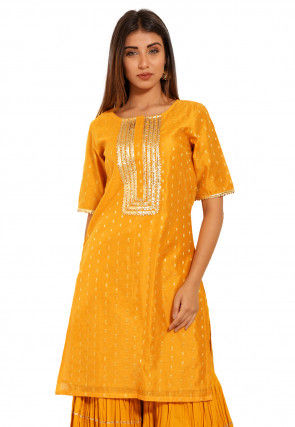 Woven Chanderi Silk Jacquard Straight Kurta in Mustard