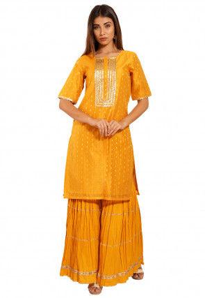 Woven Chanderi Silk Jacquard Straight Kurta Set in Mustard
