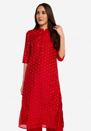 Woven Chanderi Silk Jacquard Straight Kurta Set in Red