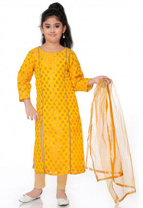 Woven Chanderi Silk Jacquard Straight Suit in Mustard