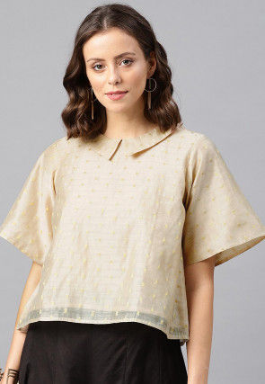 Woven Chanderi Silk Jacquard Top in Light Beige