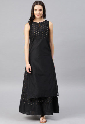Woven Chanderi Silk Jacquard Top N Skirt in Black