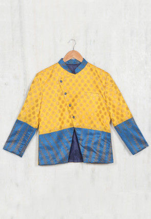 Woven Chanderi Silk Kids Jacket in Yellow and Teal Blue