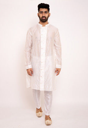 Woven Chanderi Silk Kurta in Off White