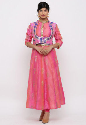 Woven Chanderi Silk Kurta Jacket Set in Pink