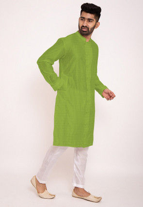 Woven Chanderi Silk Kurta Set in Green