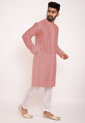 Woven Chanderi Silk Kurta Set in Light Grey