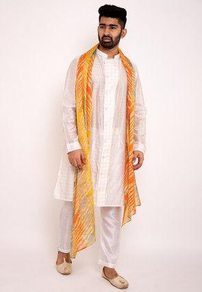 Woven Chanderi Silk Kurta Set in Off White