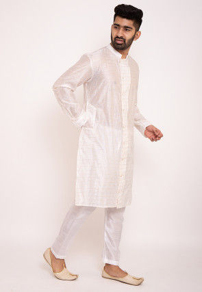 Woven Chanderi Silk Kurta Set in Off White