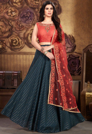 Woven Chanderi Silk Lehenga in Dark Teal Blue
