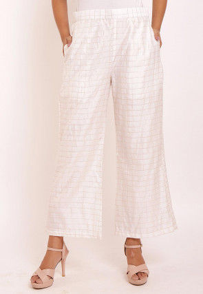 Woven Chanderi Silk Palazzo in Off White