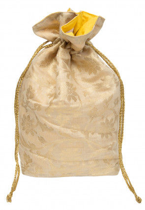 Woven Chanderi Silk Potli Bag in Light Beige