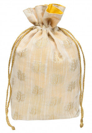 Woven Chanderi Silk Potli Bag in Off White