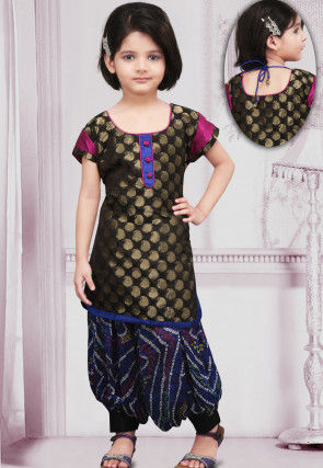 Woven Chanderi silk Punjabi Suit in Black