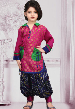 Woven Chanderi silk Punjabi Suit in Fuchsia