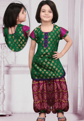 Woven Chanderi silk Punjabi Suit in Green