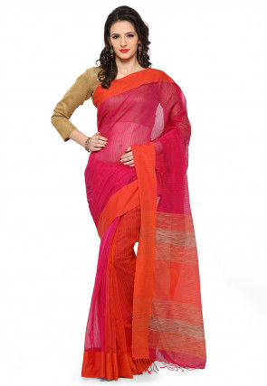 Woven Chanderi Silk Saree in Dark Pink