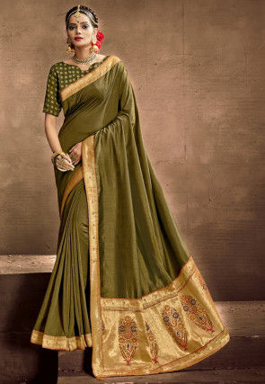 Woven Chanderi Silk Saree in Olive Green