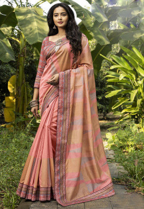 Woven Chanderi Silk Saree in Peach
