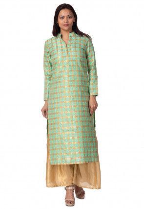 Woven Chanderi Silk Straight Kurta in Sea Green