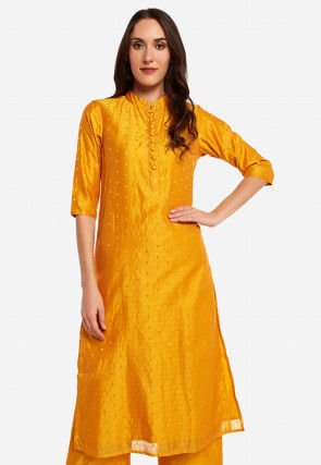 Woven Chanderi Silk Straight Kurta Set in Mustard