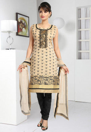 Woven Chanderi Silk Straight Suit in Light Beige