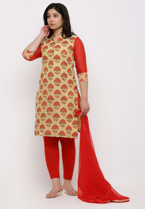 Woven Chanderi Silk Straight Suit in Light Yellow