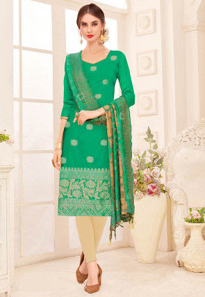 Woven Chanderi Silk Straight Suit in Teal Green