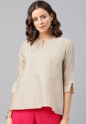Woven Chanderi Silk Top in Off White