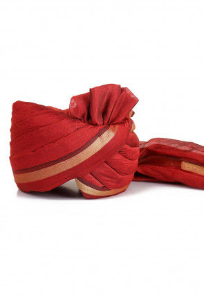 Woven Chanderi Silk Turban in Maroon