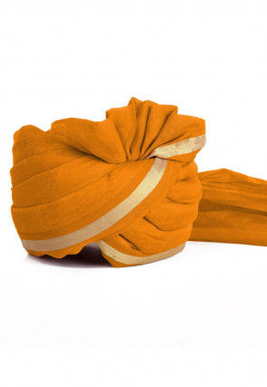 Woven Chanderi Silk Turban in Mustard