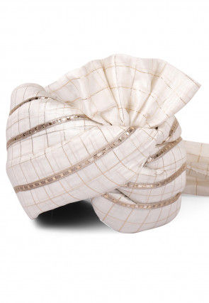 Woven Chanderi Silk Turban in Off White