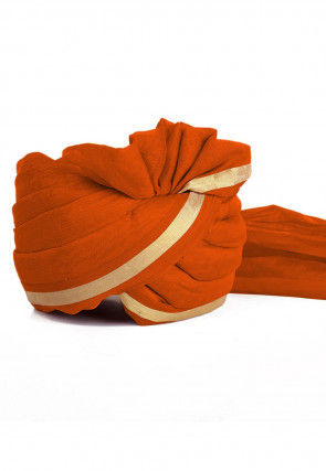 Woven Chanderi Silk Turban in Orange